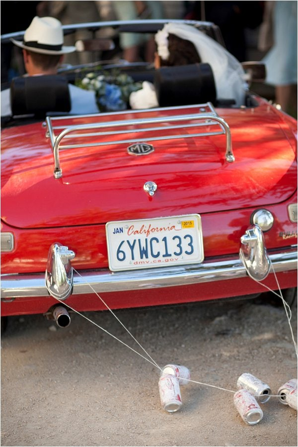 red-vintage-MG-wedding-car